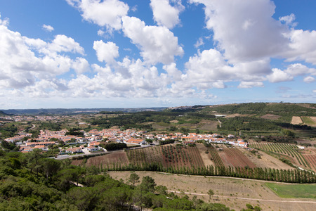 portugal agriculture: View of Obidos green fields around city walls, Obidos is an ancient medieval Portuguese village