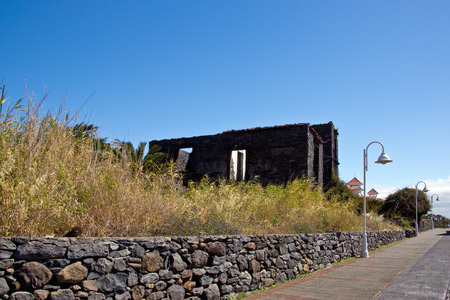 Ruined building on the coast of Madeira Stock Photo