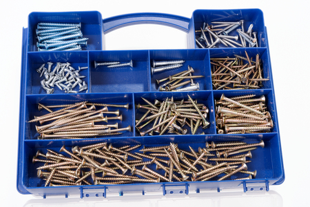 sorted: Different Screws and other Parts sorted in a plastic box