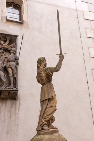 justitia: Sculpture of Lady Justice (Justitia) from 1591 at the old town of Goerlitz Stock Photo