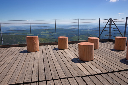 krkonose: Wooden terrace with beautiful mountains in the background Stock Photo