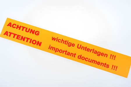 Label - Attention Important documents !!! - in English and German