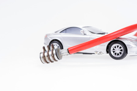Silver sports car secured with lock. Vehicle security concept Stock Photo