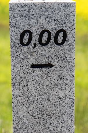 Kilometers at the beginning of the street with number 0,00