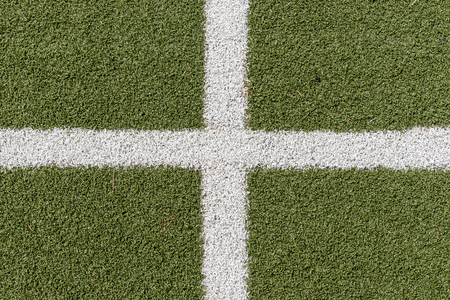 goalline: Green synthetic grass sports field with white line