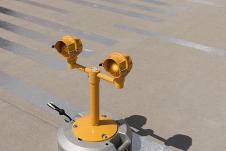 airfield: Approach lights of an airfield airport runway Stock Photo