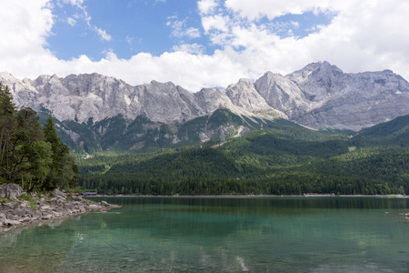 Eibsee lake and Zugspitze top of Germany Stock Photo