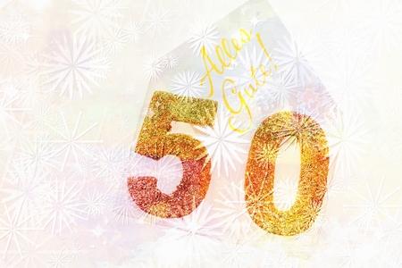 Goldene Nummer 50 auf dem Cover mit deutschem Text alles Gute Standard-Bild - 84934443