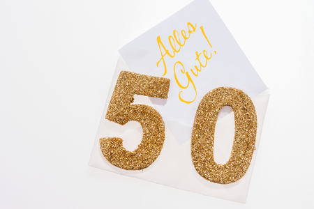 Gouden nummer 50 op cover met Duitse tekst het allerbeste (Alles Gute)