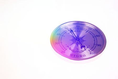 hygrometer: Colorful vintage hygrometer normal isolated on white background