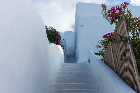 Stairs down in the beautiful city of Oia on Santorini island