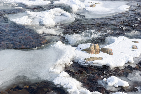 Ice floes in the water of the river