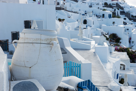 Big pottery in the village of Oia on Santorini island Banco de Imagens