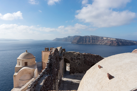 View on the Venetian castle Ruin at Oia on the Mediterranean Sea, Santorini