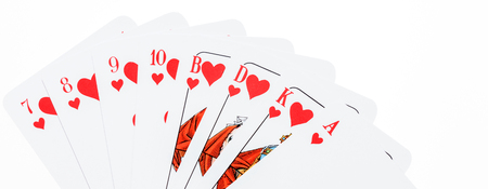 All red Skat cards from the seven to the ace, Skat is a german card game