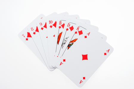 All diamond Skat cards from the seven to the ace, Skat is a german card game