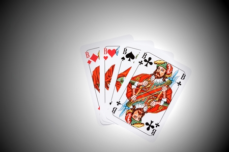 All four Jacks from the card game Skat Stock Photo