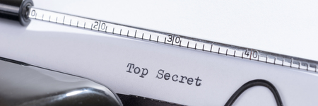 Old retro typewriter with the written text Top Secret Stock Photo