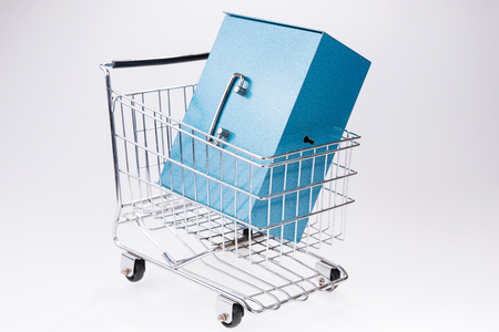 Shopping cart with blue bank safe box