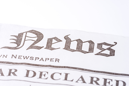 News headline on the first newspaper page