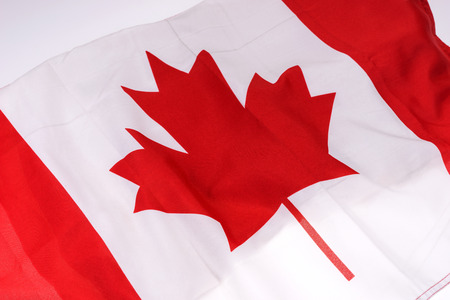 Canada national flag background, fabric texture of the flag of Canada