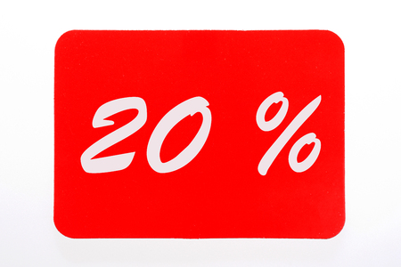 20 percent off shopping day icon in red Stock Photo