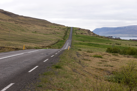 Empty Highway number 1 in Iceland on a cloudy day
