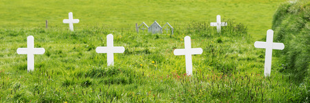 White wooden crosses on a traditional cemetery in Iceland Stock Photo