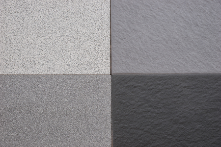 Stone slabs in different colors next to each other on the terrace Stock Photo