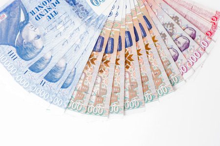 Various Icelandic banknotes isolated on white background