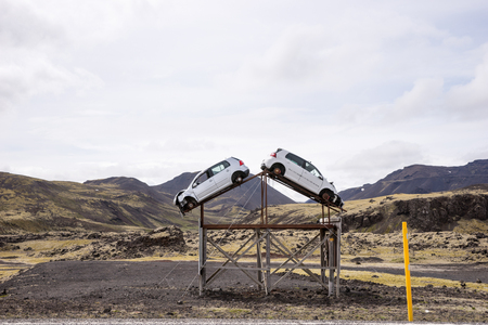 Attention, increased accident risk. Two accident cars on the roadside in Iceland