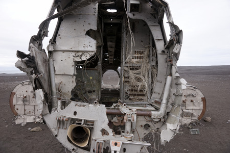 Front of the aircraft wreck in Iceland
