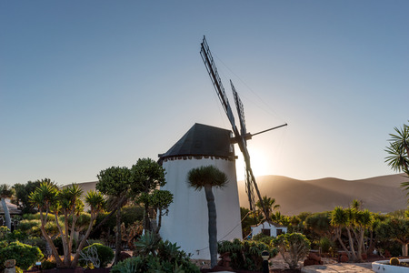 Sunset behind the windmill in Fuerteventura. Canary Islands. spain