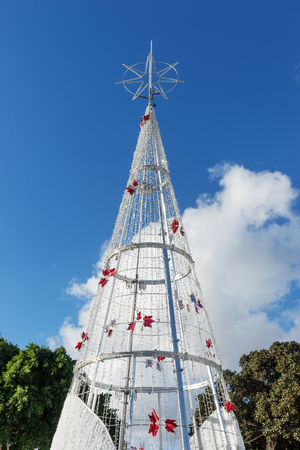 Christmas tree in front of blue sky. Lanzarote. Canary Islands. spain