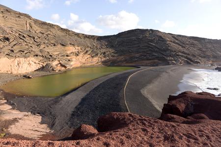 Green Lagoon - Lago de los Clicos - near the town of El Golfo. Lanzarote. Canary Islands