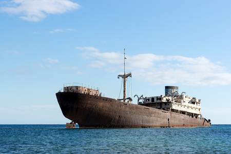 Old shipwreck located outside the capital Arrecife. Lanzarote. Canary Islands