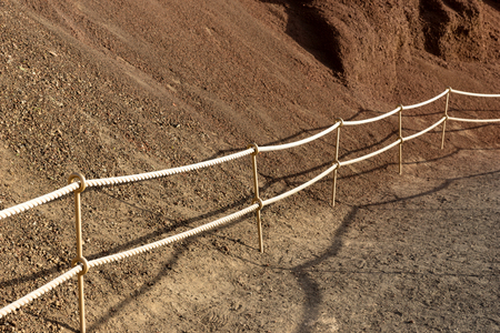 Fixed rope route at mountain. Walkway in the mountain Stock Photo