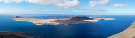 Panoramic view volcanic Island La Graciosa. View from Lanzarote, Canary Islands, Spain
