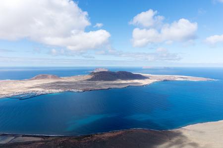 Volcanic Island La Graciosa. View from Lanzarote, Canary Islands Stock Photo