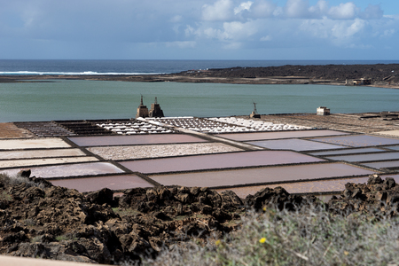 Saltworks in Lanzarote. Salinas de Janubio. Canary Islands Stock Photo
