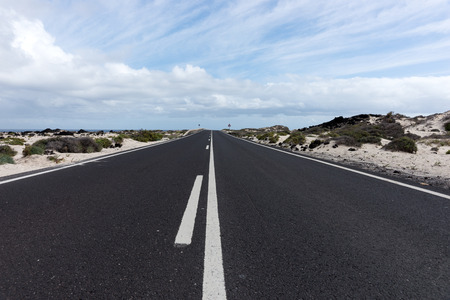 Road through the middle of the desert. Lanzarote. Canary Islands. spain