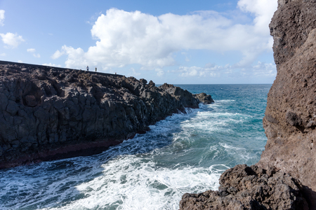 Los Hervideros. The place where lava was going to the ocean. Lanzarote. Canary Islands