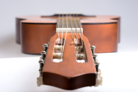 Fretboard of old classical guitar. Stringed musical instrument Reklamní fotografie