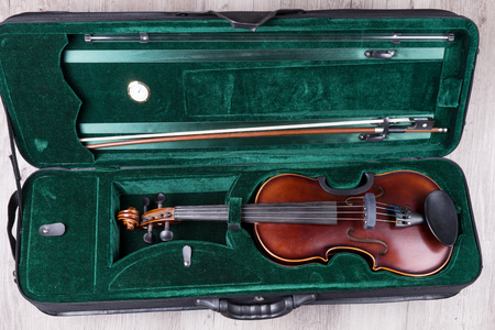 Classical violin reads in the suitcase with green velvet 写真素材