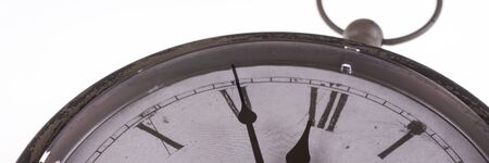 Panoramic image Retro clock with five minutes before twelve Archivio Fotografico - 129479499