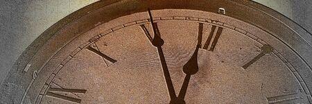 Panoramic image Retro clock with five minutes before twelve Archivio Fotografico - 129479500