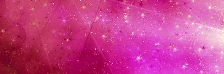 Abstract pink magic panoramic background with bokeh lights