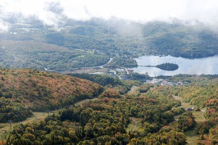 Lake Tremblant and Mont-Tremblant village from the top of Mont Tremblant. Quebec. canada