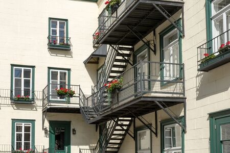 Outside stairs and stairs in Quebec Canada