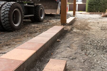 Beginning of the paving for the car entrance
